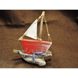 Wooden painted boat
