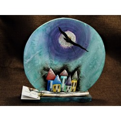 Wooden painted table clock